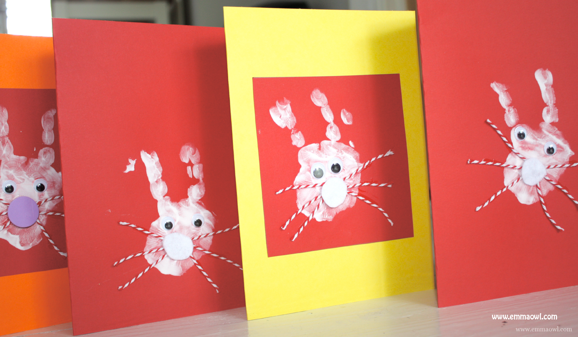 Easter Bunny Hand Print Cards. A very cute children's craft activity for Easter!