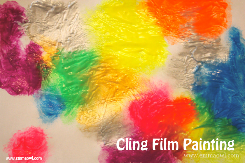 Clingflilm Painting and a butterfly card