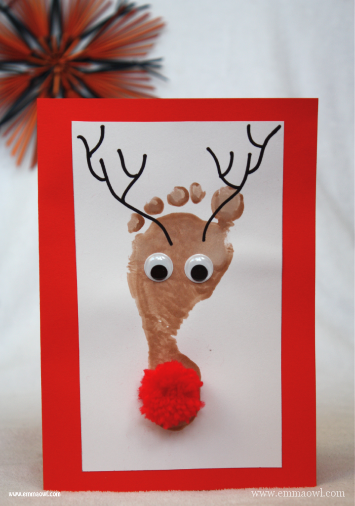 Reindeer Footprint Christmas Cards. All you need is a shiny nose!