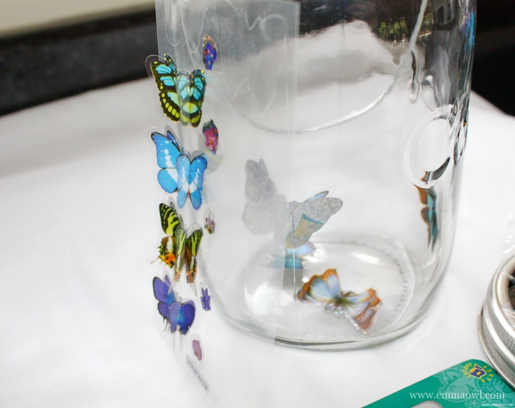 Solar Panel Butterfly Light Jar Beautiful Glass Jar