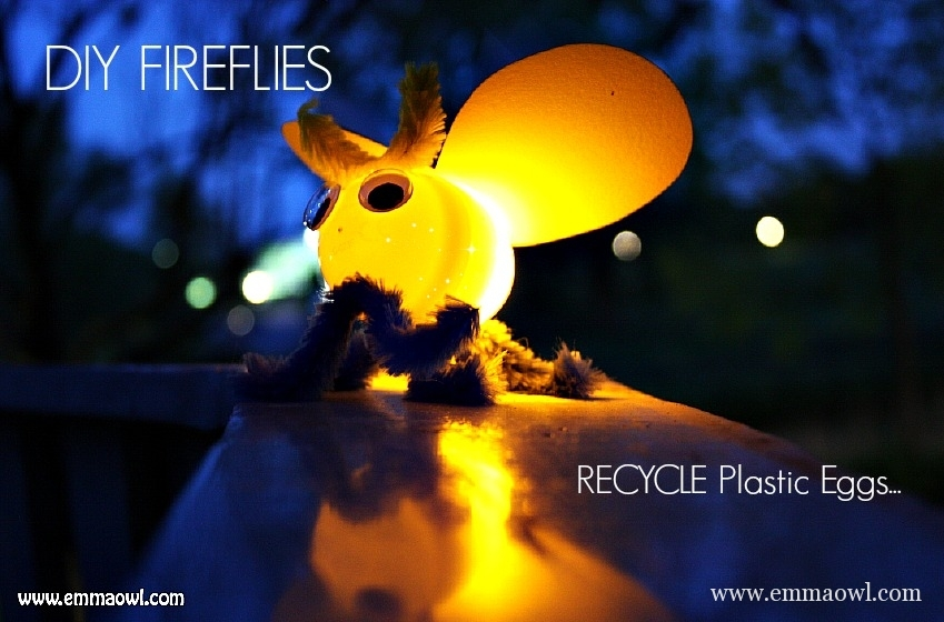 Fireflies-with-plastic-Easter-Eggs. Awesome Children's Art and Craft Idea! Recycle those eggs into this little critter!!