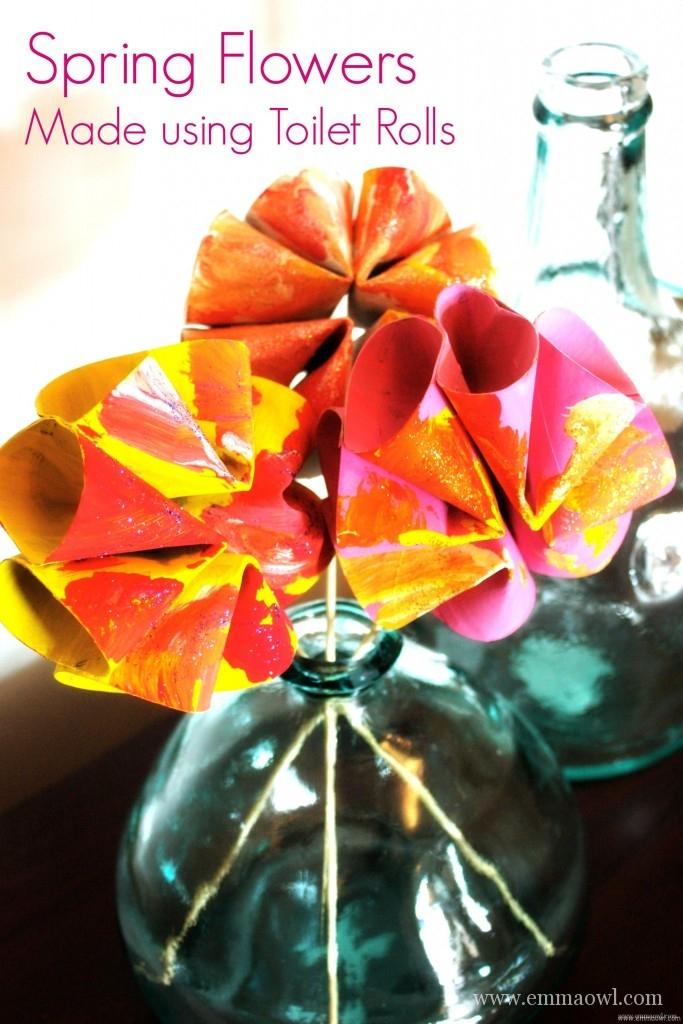 Spring Time Flowers. Made using toilet rolls. This is a fantastic Upcycle Activity