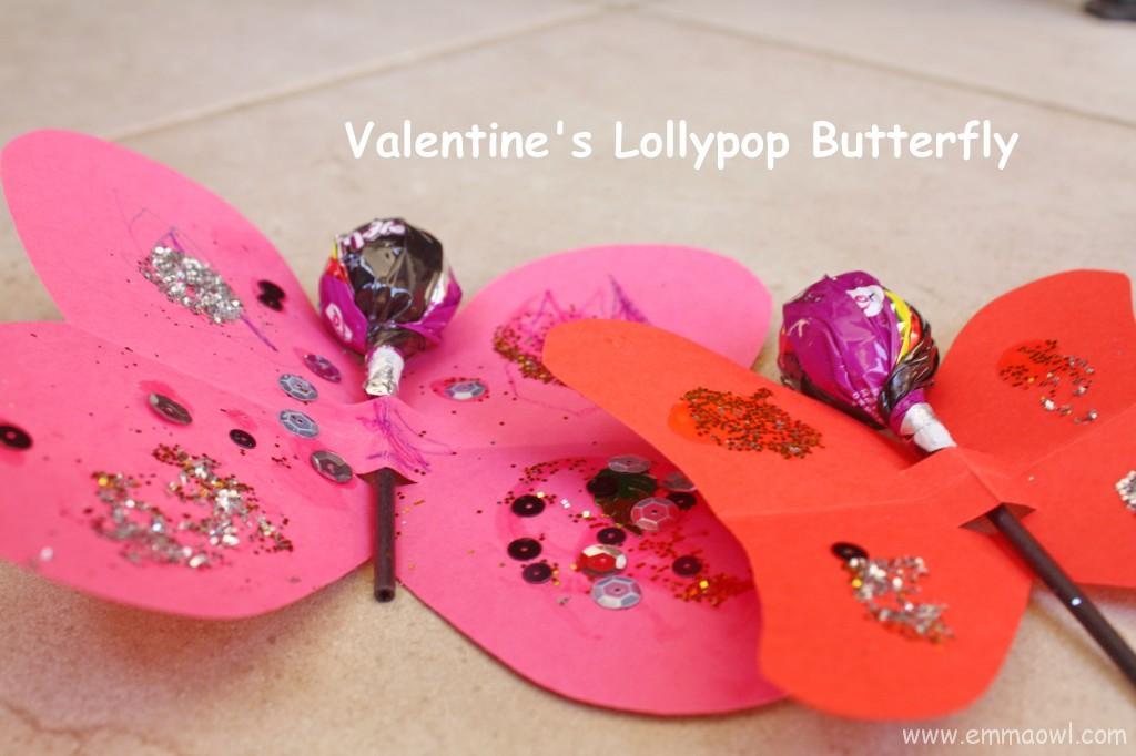 Valentine's Butterfly with Lollypop. Fun, friendly Children's Valentine Idea.