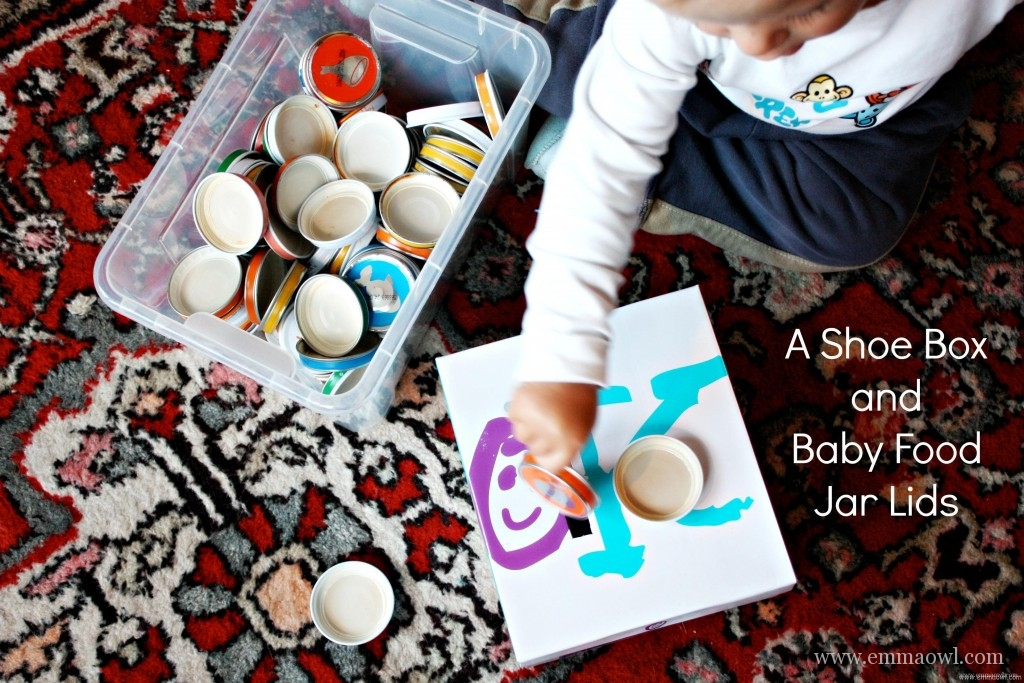 A SHoe Box and Baby Food Jar Lids. The Perfect Game