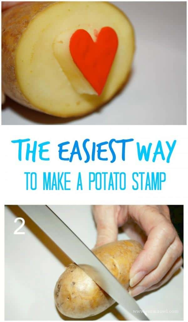 How to make you own potato stamp the easy way emma owl for Quick snacks to make with potatoes