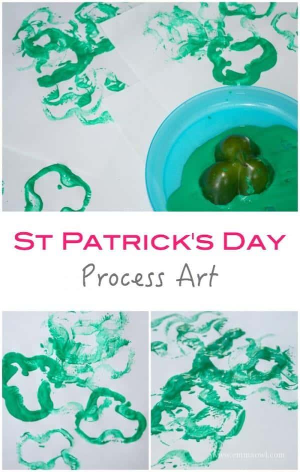 St Patricks Day Process Art Project for Kids - east to make shamrock craft idea!