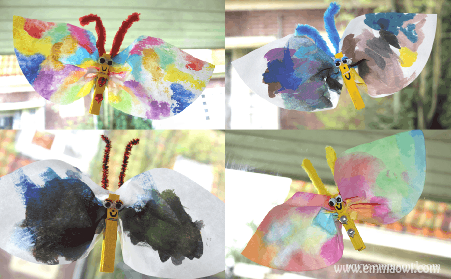 Coffee Filter Butterflies. A beautiful spring time children's craft idea!