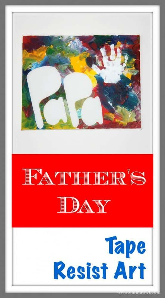 Fathers Day Tape Resist Art. This is a great art project for kids and it makes a lovely gift for Dad! So easy to do - even a toddler can make one!
