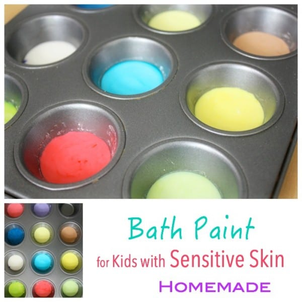 Homemade bath paint for kids with sensitive skin
