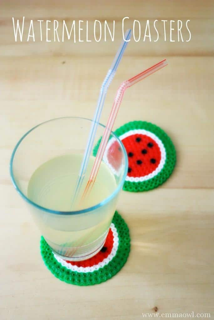 Watermelon Coasters Made from Hama Beads