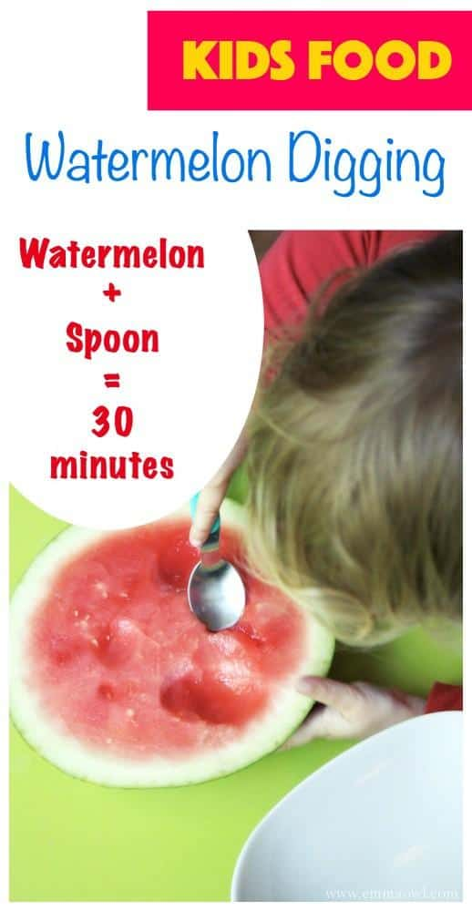 Watermelon Digging is such a simple activity to set up. My kids loved eating their watermelon this way. Sometimes the most simple things are the best!