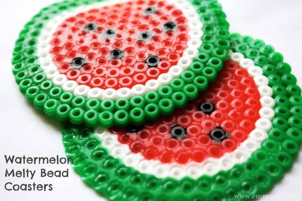 melty bead watermelon coasters