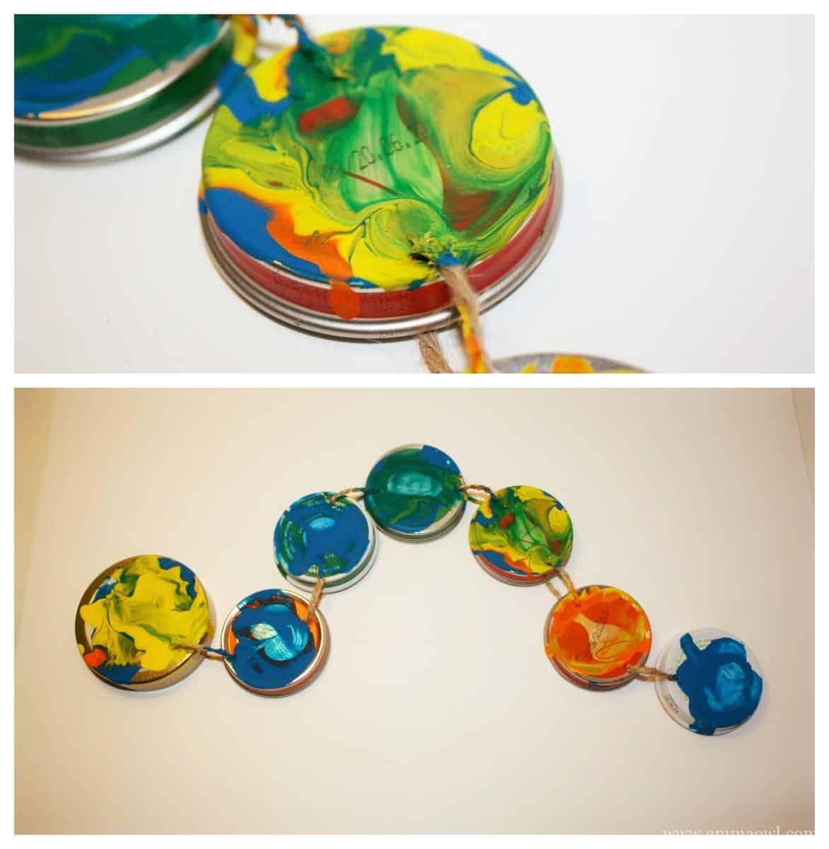 Make your own caterpillar using jar lids emma owl for Caterpillar crafts for preschoolers