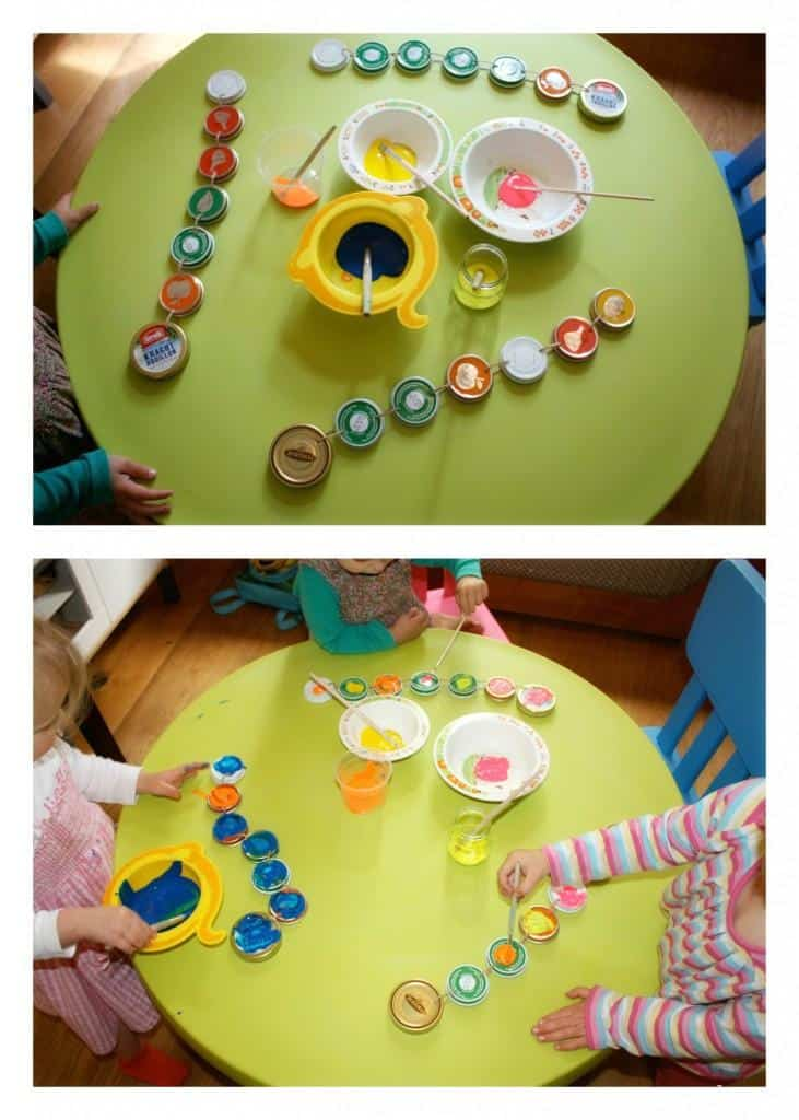 Make your Own Caterpillar using baby food jar lids
