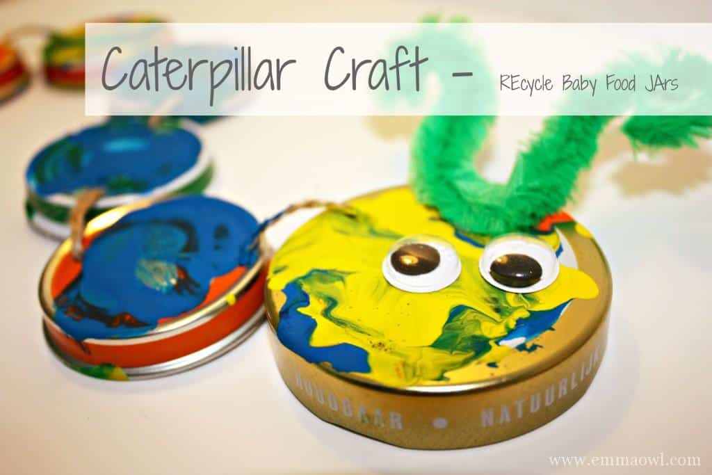 caterpillar craft made using baby food jars