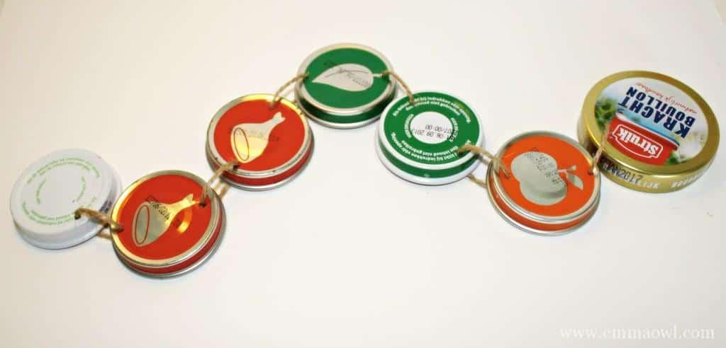 caterpillar made using baby food jar lids