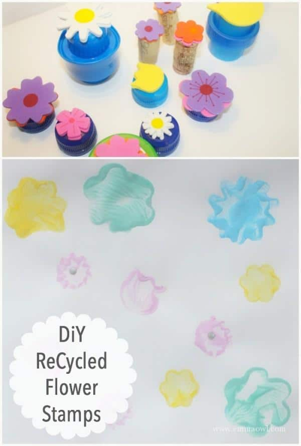 DiY Recycled Flower Stamps - easy to make and use.