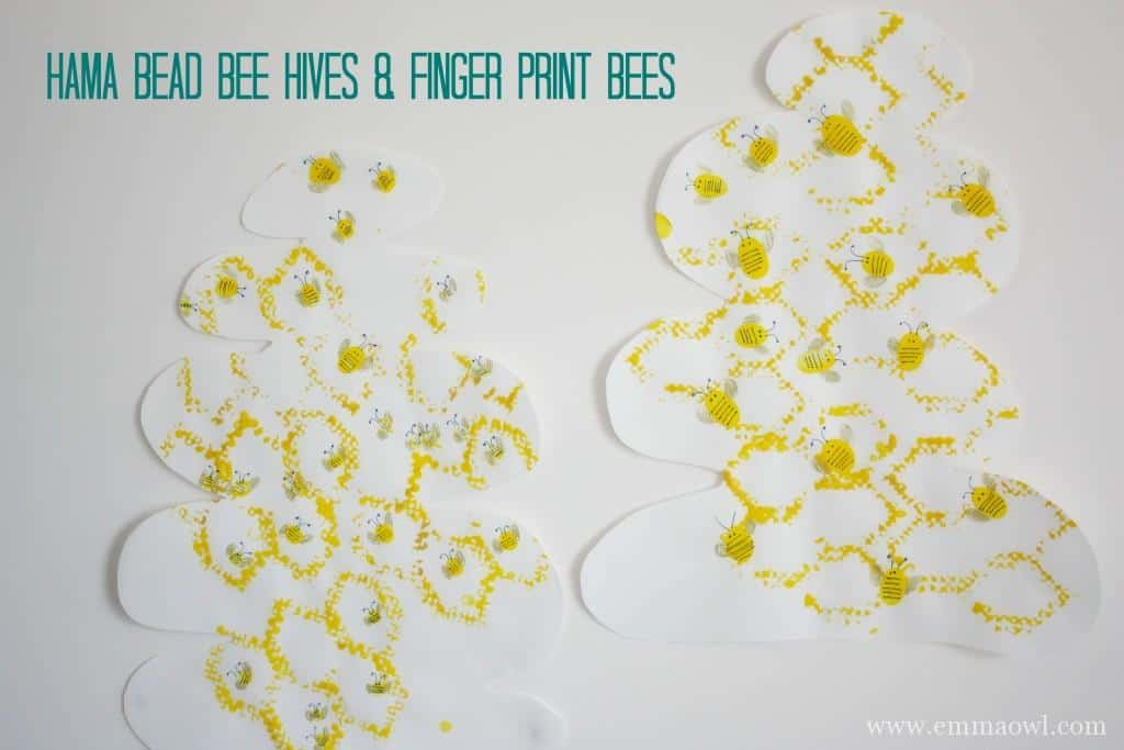 Hama Bead Bee Hive and Finger Print Bees