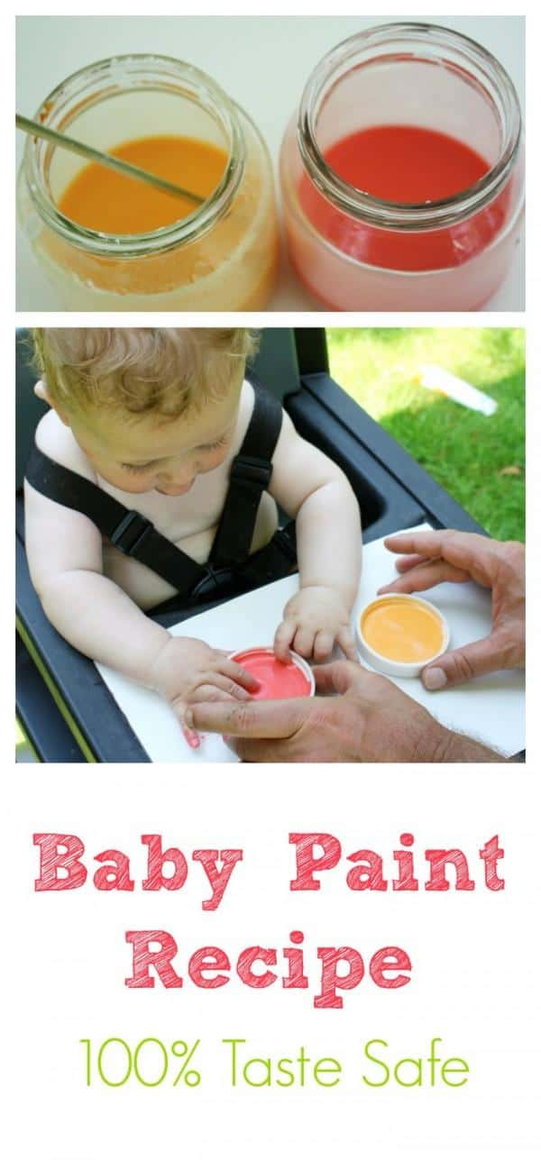 Make your Own Baby Paint - completely taste safe and so much fun! Great sensory art activity for baby!
