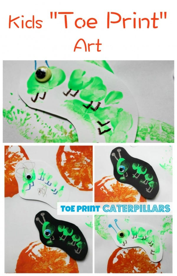 Toe print Art is such a cute kids craft activity and these caterpillars turn out wonderfully.