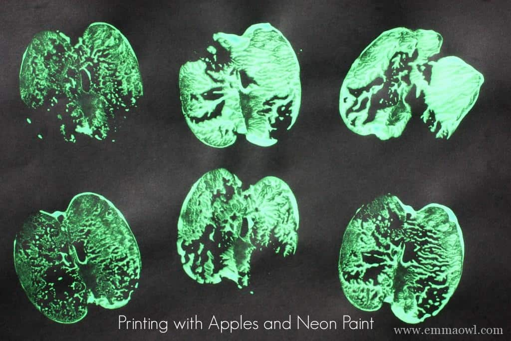 printing with apples and neon paint