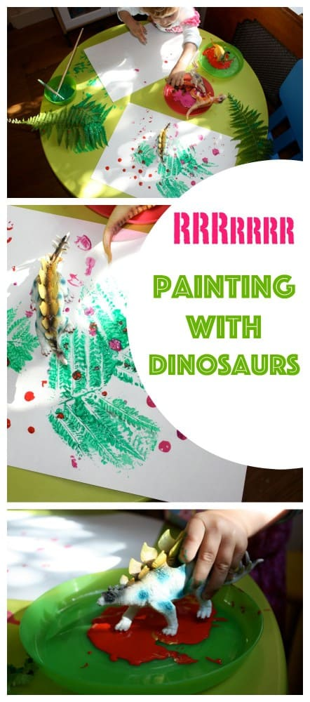 Painting with Dinosaurs. a fantastic little kids craft that is easy to set up and so much fun to do!