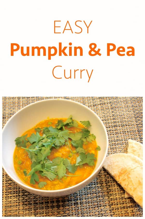 Easy Pumpkin and Pea Curry. An Alternative to a pumpkin dinner.