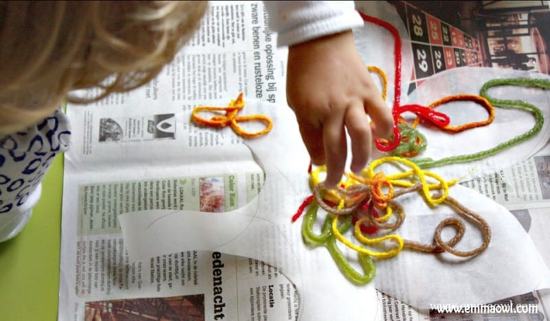 Great Fall - Autumn Activity - make this wool leaf collage