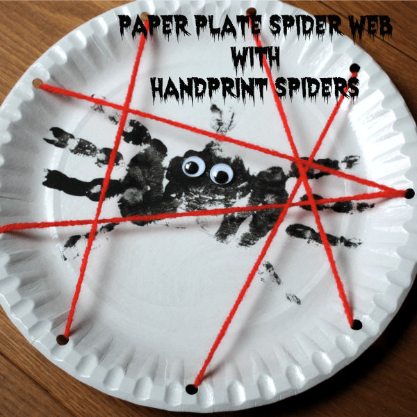 & Spider Web Paper Plates with Hand Print Spiders! - Emma Owl