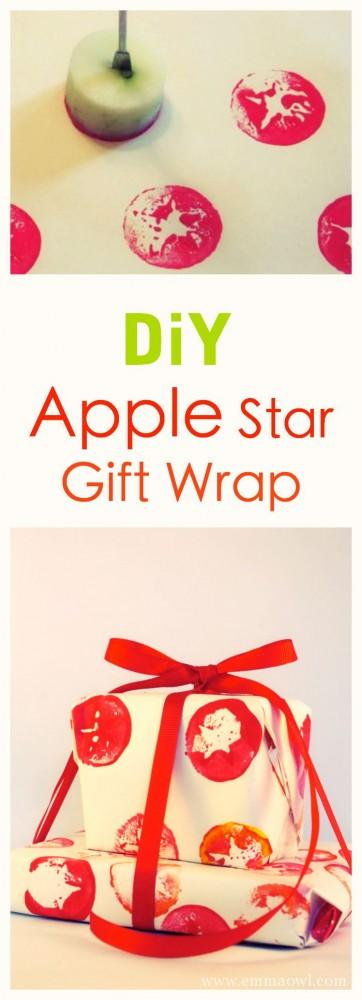 Easy to make Apple Star Gift Wrap, fun craft project for you or the kids!