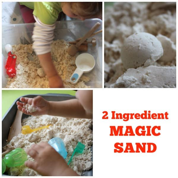 Magic Sand made with 2 Ingredients. Great sensory play Material