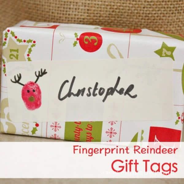 Fingerprint Reindeer Gift Tags