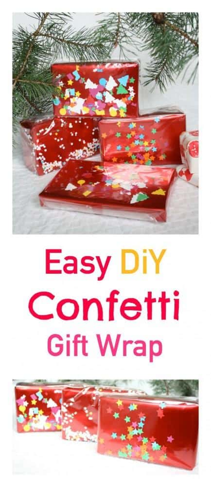 Make this easy DiY Confetti gift wrap in a few easy steps. A great way to ad that something special to any Christmas Gift Decoration