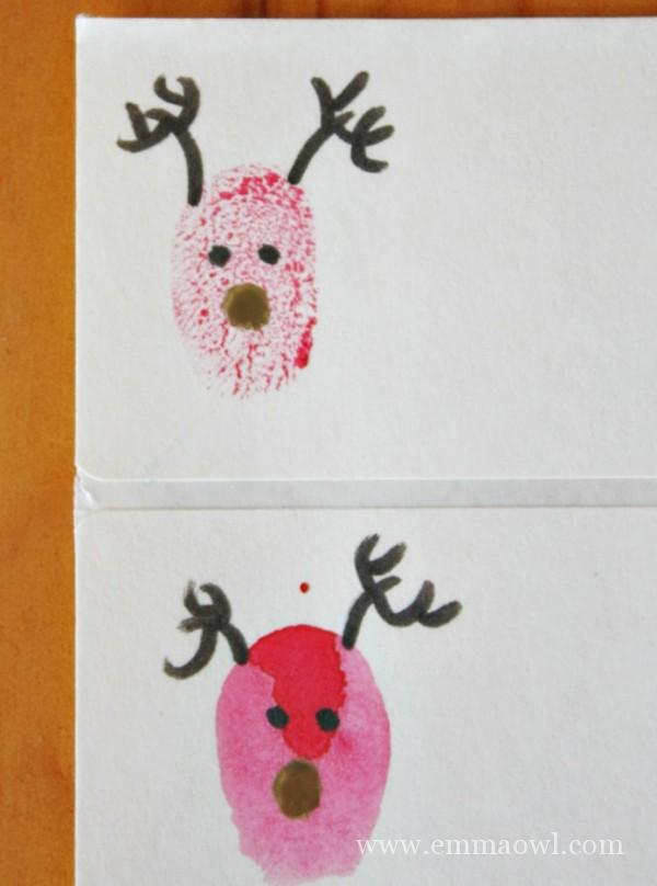 Making our reindeer fingerprint gift tags for christmas