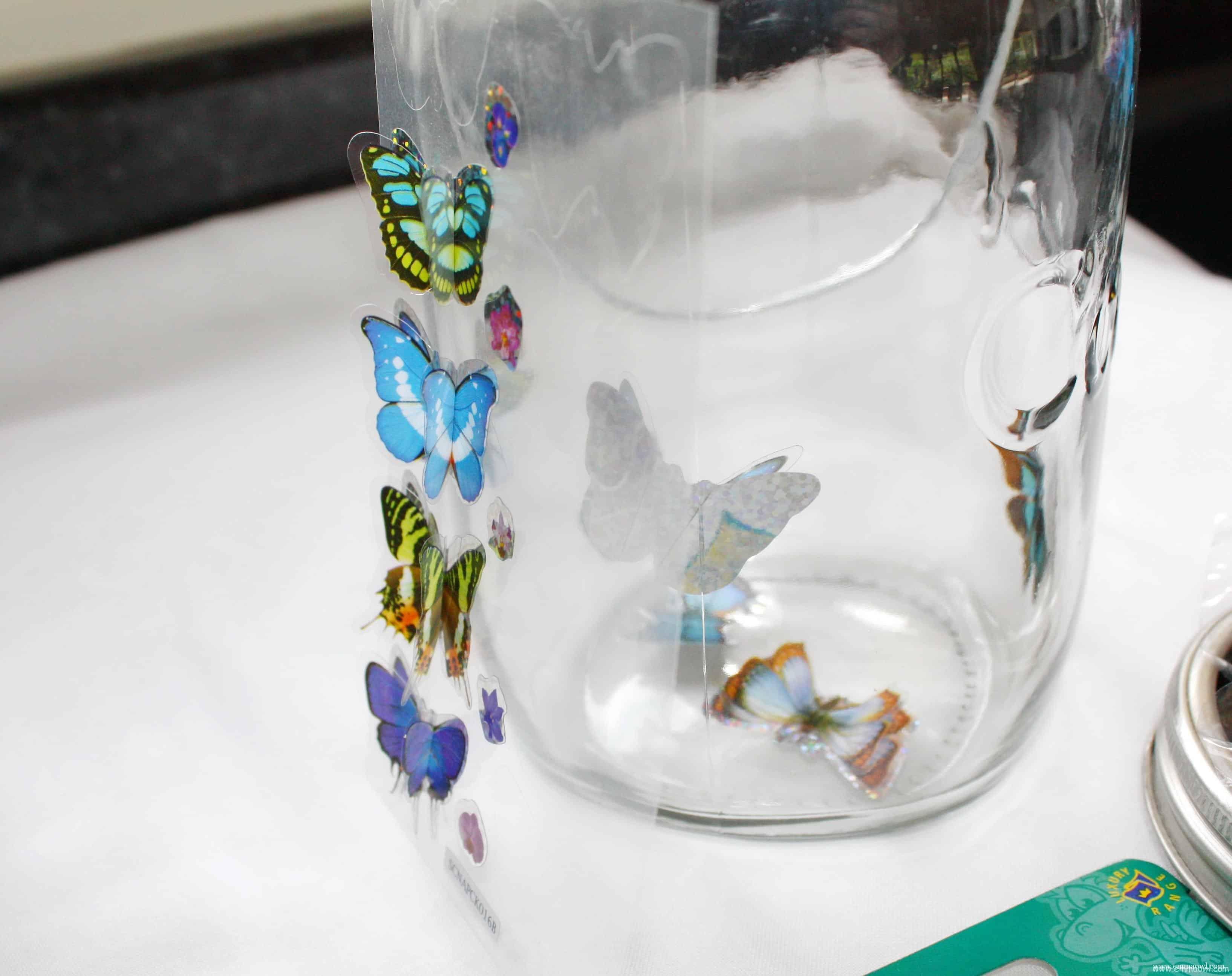Solar Panel Butterfly Light Jar Beautiful Glass Jar