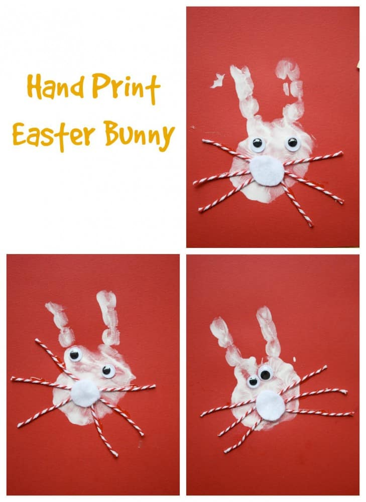 Hand Print Easter Bunny. Very special Easter Kids Craft Project!