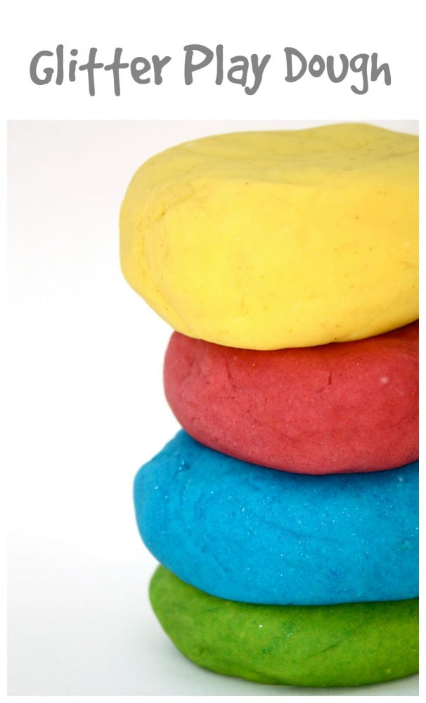 Homemade Glitter Play Dough - lasts for months in the fridge!