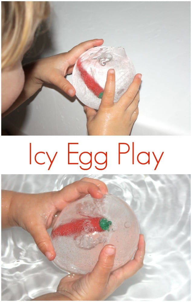 Icy Egg Play. Great bath time or summer outdoor sensory play activity.