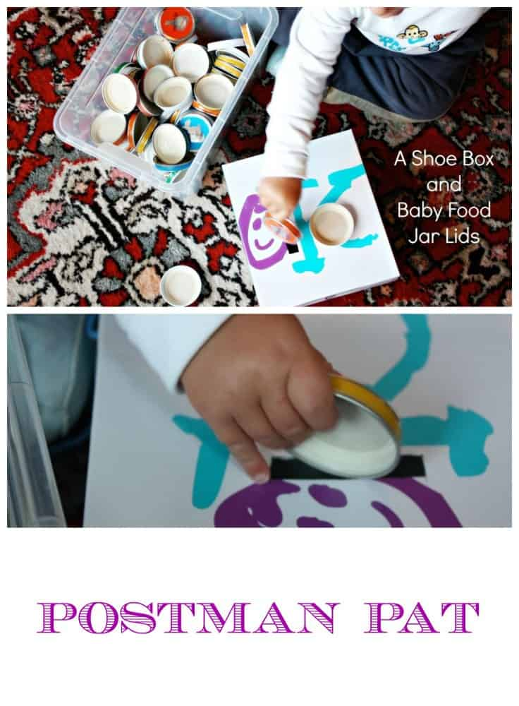 Postman Pat - A Shoe Box and Baby Food Jar Lids. Makes the best homemade posting toy