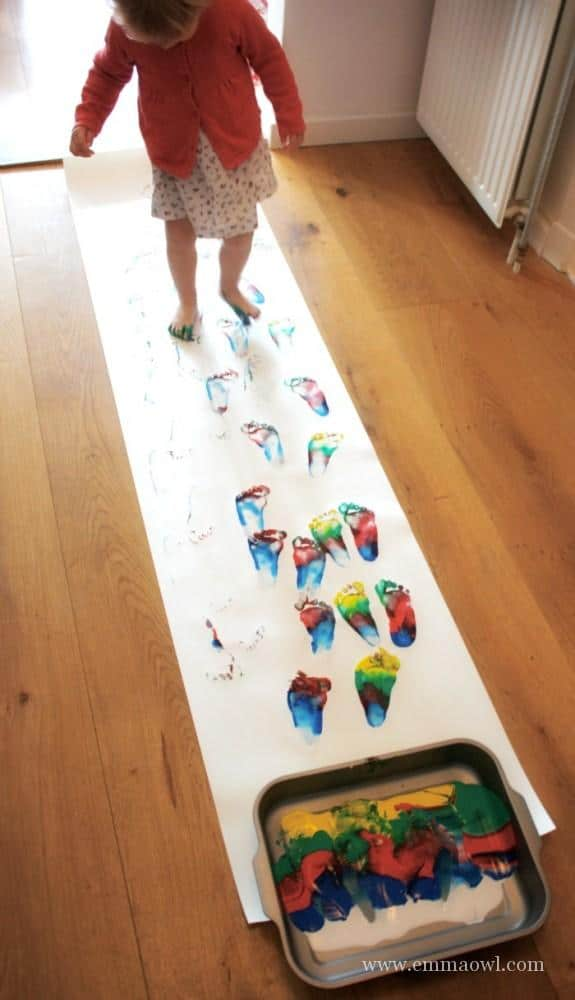 Rainbow walking emma owl for Painting ideas for 4 year olds