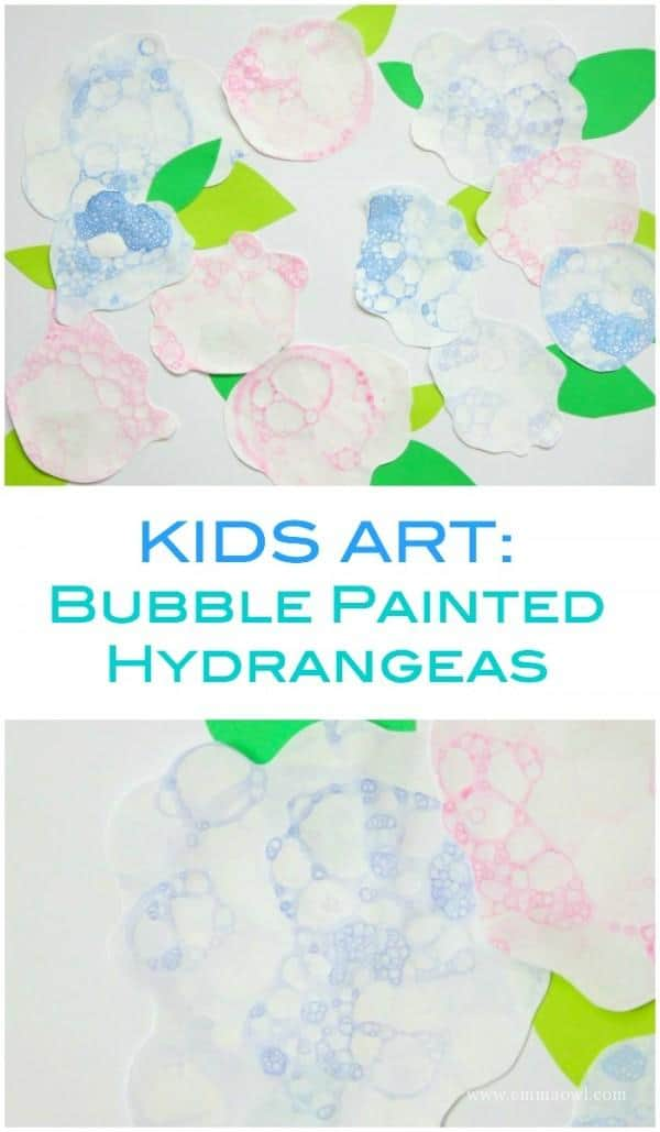 Fantastic Kids Art Project - painted hydrangeas using a fun technique of blowing bubbles!