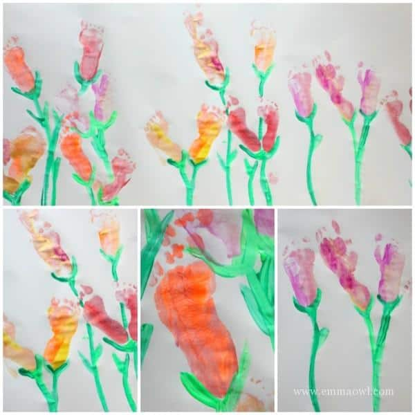 Footprint Flowers - painting just for fun