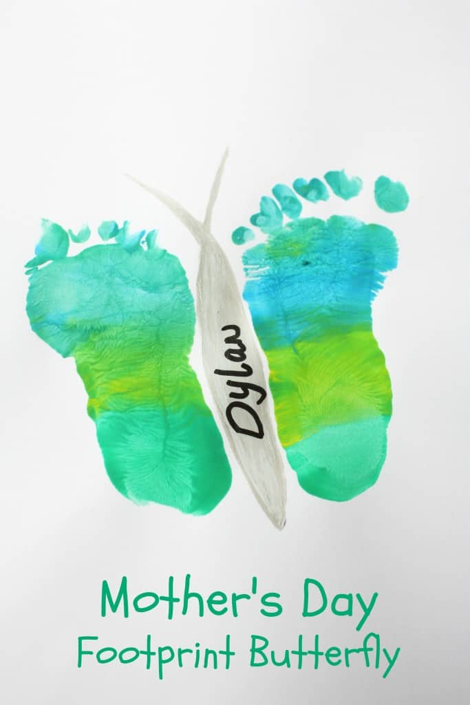 Mothers day footprint butterfly. Pretty special card idea