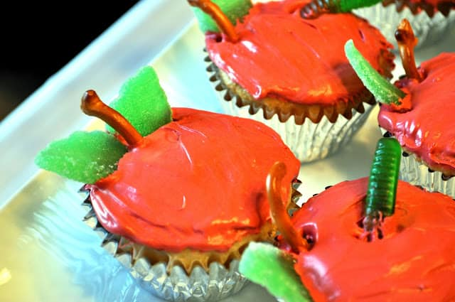 very hungry catapiller party apple cupcakes