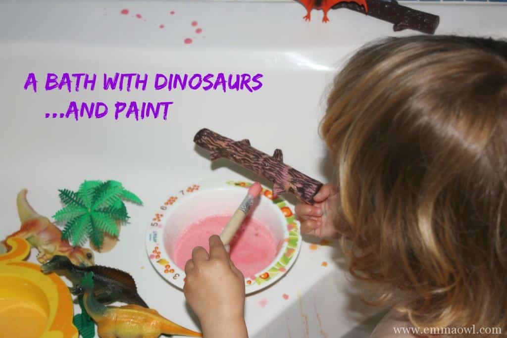Bath with Dinosaurs and Paint