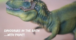 Dinosaurs in the bath - with paint