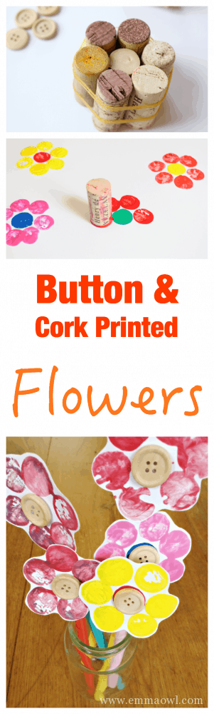 Fun Kids Craft - Button and Cork Printed Flowers. So easy to set up and make.