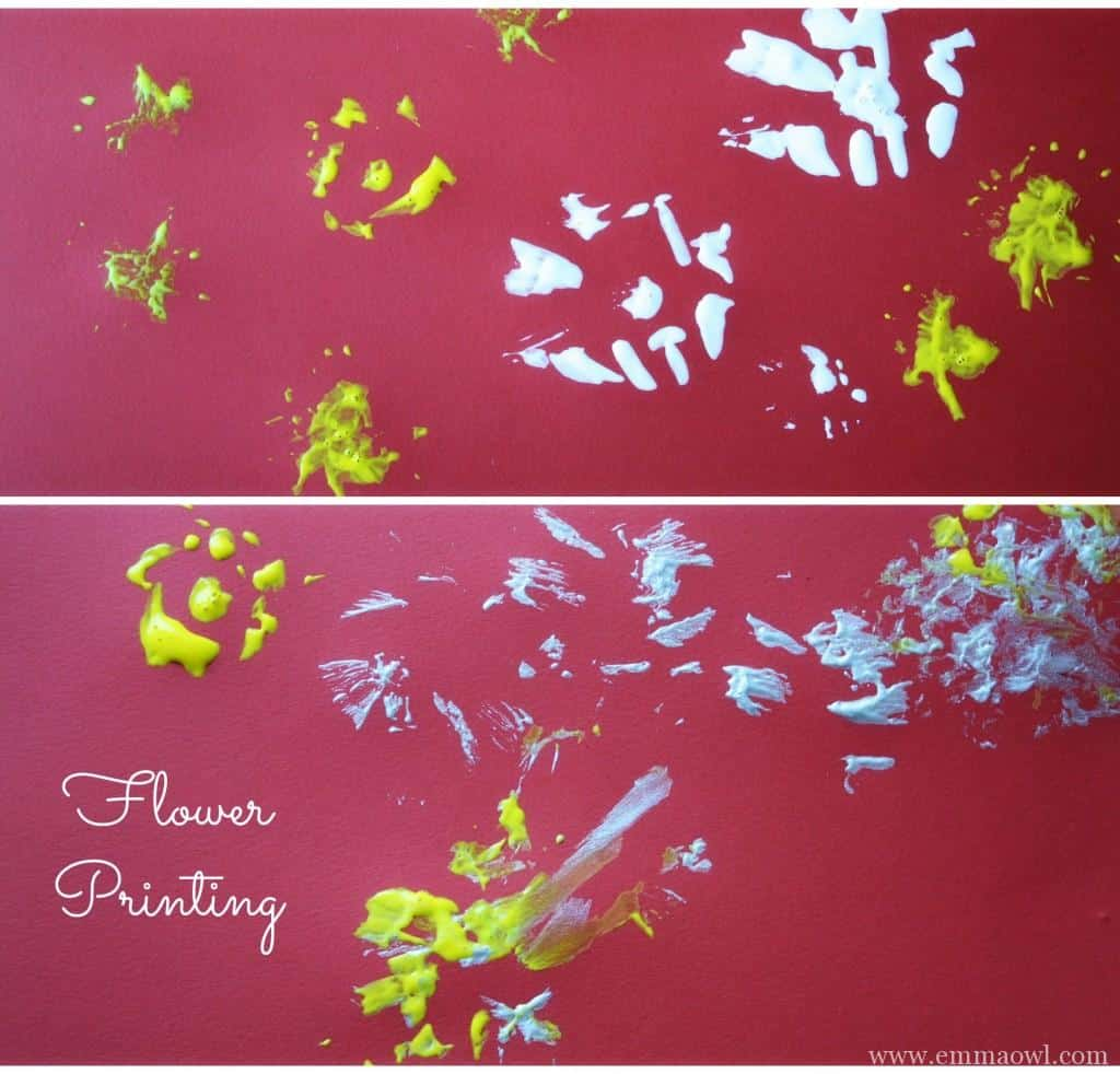 flower printing. This is a great art and craft activity for children in summer