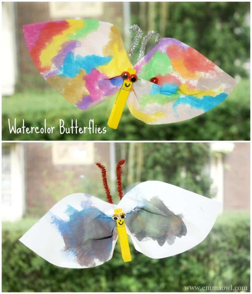 DIY Coffee Filter Butterflies - using wooden pegs and coffee filters
