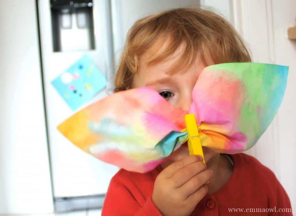 Watercolor Butterflies Made with coffee filters and wooden pegs